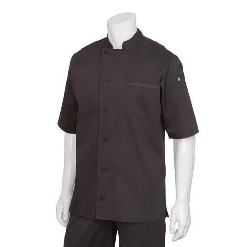 Chef Works VSSS-BBK-L Large Black Valais V-Series Chef Coat for Restaurant Chef