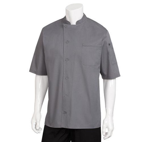 Chef Works VSSS-GBC-S Small Gray Valais V-Series Chef Coat for Restaurant Chef