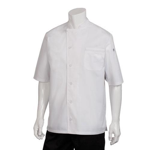 Chef Works VSSS-WGC-M Medium White Valais V-Series Chef Coat for Restaurant Chef