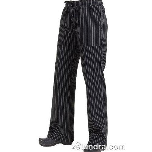 Women's Black Pinstripe Chef Pants (L) at Discount Sku BWOM-BPS-L 81903