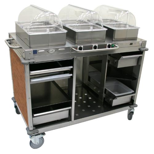 Cadco cbc hhh l mobile hot buffet cart with red skirt