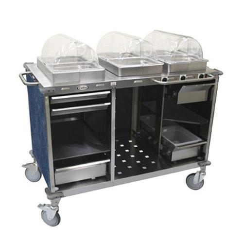 Cadco - CBC-HHH-L4 - Mobile Hot Buffet Cart with Blue Laminate Skirt