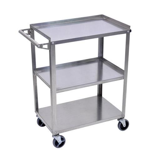 luxor ssc 3 3 shelf stainless steel utility cart etundra