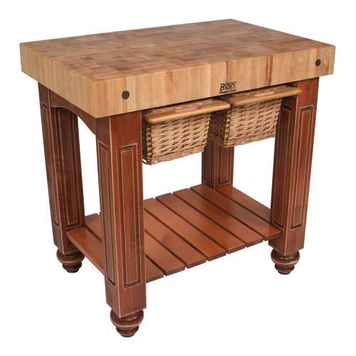 John boos cu gb3624 cr 36 cherry stain gathering block etundra - Butcher block kitchen work table ...