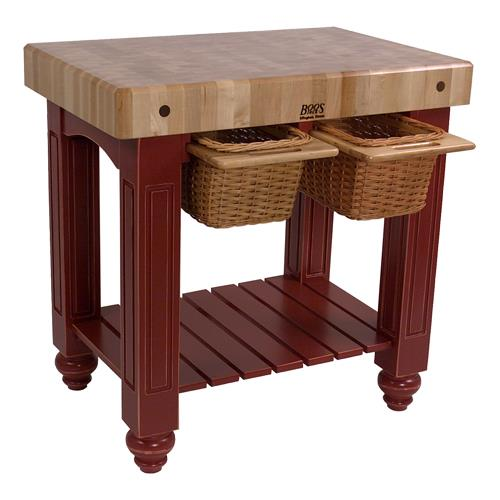 John boos cu gb4824 bn 48 barn red gathering block etundra - Butcher block kitchen work table ...