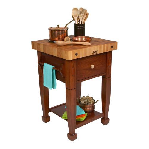 John boos jasmn24243 d s cr 24 cherry stain jasmine map etundra - Butcher block kitchen work table ...