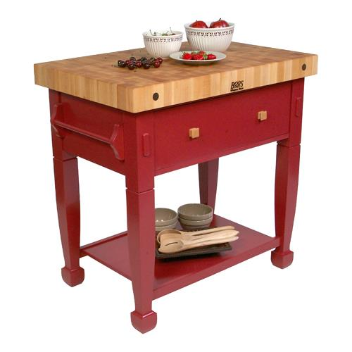 John boos jasmn36243 d s bn 36 barn red jasmine maple t etundra - Butcher block kitchen work table ...
