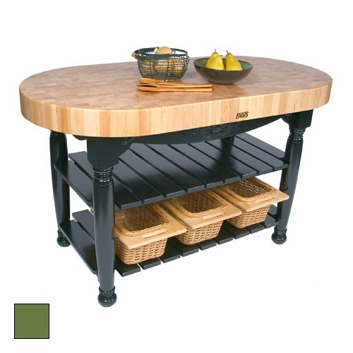 John boos cu har60 bs 60 basil green harvest table for 60 inch kitchen island