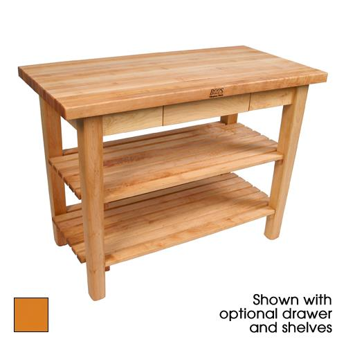 "36"" Tangerine Classic Country Table w/ Drawer & Shelf at Discount Sku C3624-D-S-TG JHBC3624DSTG"