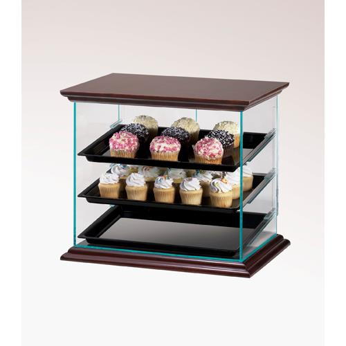 Cal mil 815 52a euro 3 tier wood display case pastry for Dining room equipment