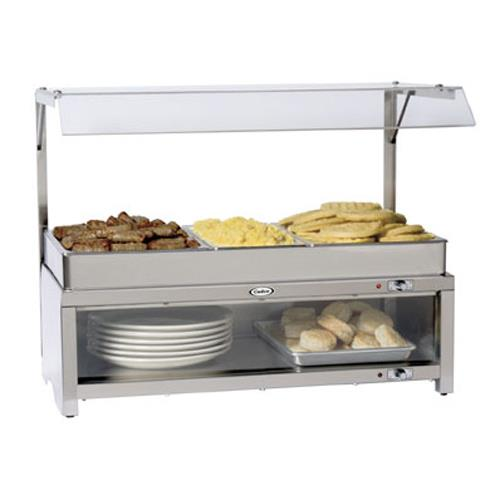 Cadco - CMLB-CSG - Warming Cabinet with Sneeze Guard and Buffet Server Top