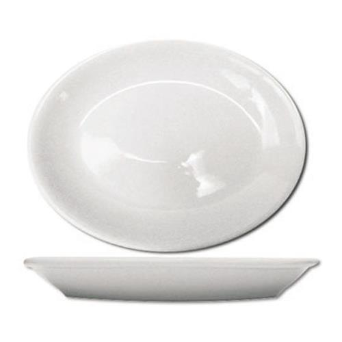 ITI DO-14 13 1/4 in x 9 7/8 in Dover Porcelain Coupe Platter for Restaurant Chef