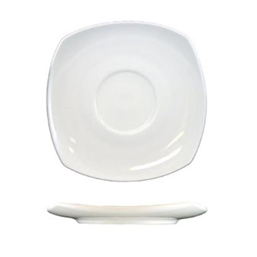 ITI QP-2 5 3/4 in Quad Square Fine Porcelain Saucer for Restaurant Chef