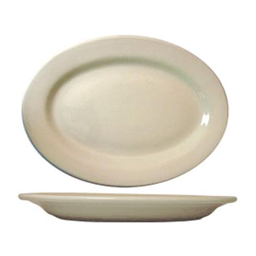 ITI RO-13 11 1/2 in x 8 1/4 Roma American White Platter With Rolled Edging for Restaurant Chef
