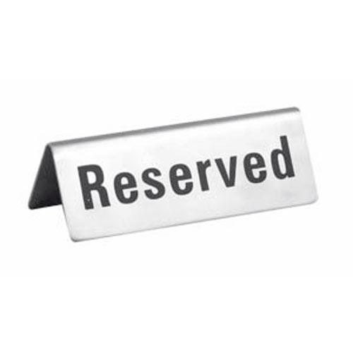 Stainless Steel Reserved Table Sign: Winco - RVS-4 - Stainless Steel InReserved In Sign