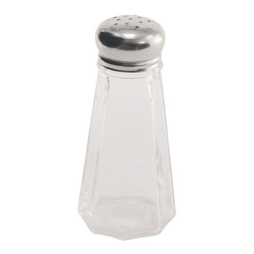 Crestware SHKR43M 3 oz Paneled Glass Salt & Pepper Shaker for Restaurant Chef