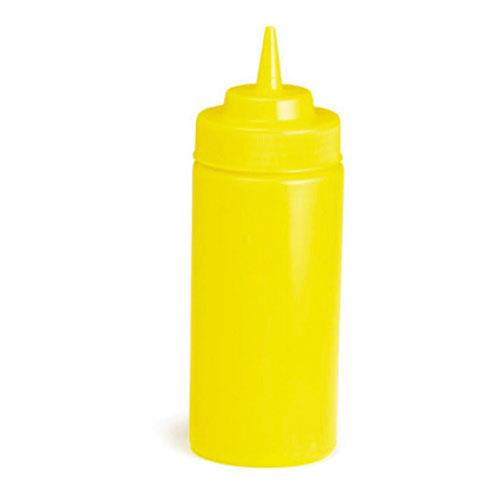 Tablecraft 11663M 16 oz Yellow Wide Mouth Squeeze Bottle for Restaurant Chef
