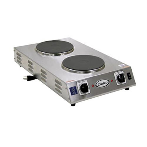 Cadco - CDR-2CFB - Cast Iron Double Space Saver Hot Plate - 120V/1,800W