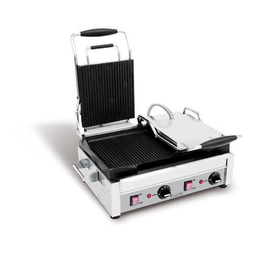 240V Double Panini Grill w/Smooth & Ribbed Plates at Discount Sku SFE02375 EURSFE02375240