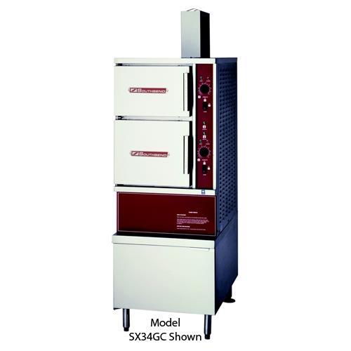 "60"" (1) 6 & (1) 10 Gallon Kettle 6 Pan Convection Steamer w/ Gas Boiler at Discount Sku GCX-2S-6-10 SOUGCX2S610"
