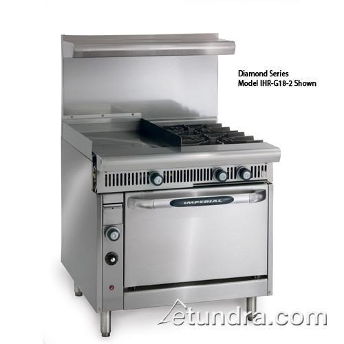 "Diamond Series Range w/ 2 Burners, 18"" Griddle, Hot Top & Standard Oven at Discount Sku IHR-G18-2 IMPIHRG182"