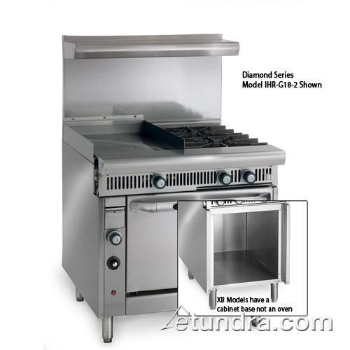 "Diamond Series Range w/ 2 Burners, 18"" Griddle, Hot Top & Cabinet at Discount Sku IHR-G18-2-XB IMPIHRG182XB"