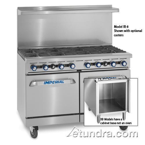 "48"" Range w/ 8 Burners, Standard Oven & Cabinet at Discount Sku IR-8-XB IMPIR8XB"