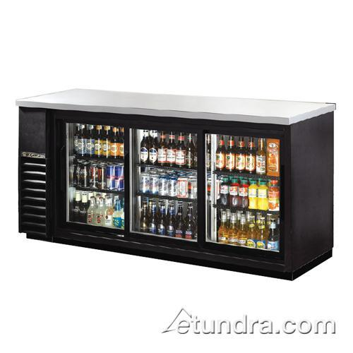 """73"""" Stainless Steel Back Bar Cooler w/ 3 Glass Doors at Discount Sku TBB-24-72G-SD TRUTBB2472GSD"""