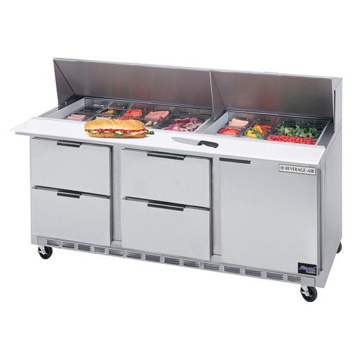 72 in 4 Drawer Mega Top Sandwich Prep Table with 9 Pans