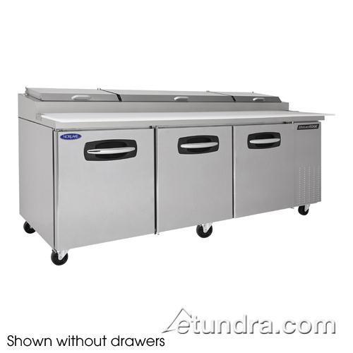 "AdvantEDGE 2 Drawer 93"" Pizza Prep Table w/Left & Center Doors at Discount Sku NLPT93-002 NORNLPT93002"