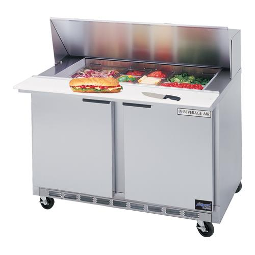 """48"""" Sandwich Prep Table w/ Door Thermometer at Discount Sku SPE48-08-32 BEVSPE480832"""