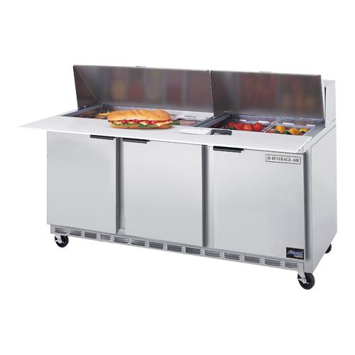 72 in Cutting Top Sandwich Prep Table with 3 in Casters
