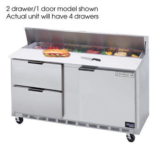 60 in 4 Drawer Cutting Top Prep Table with 16 Pans