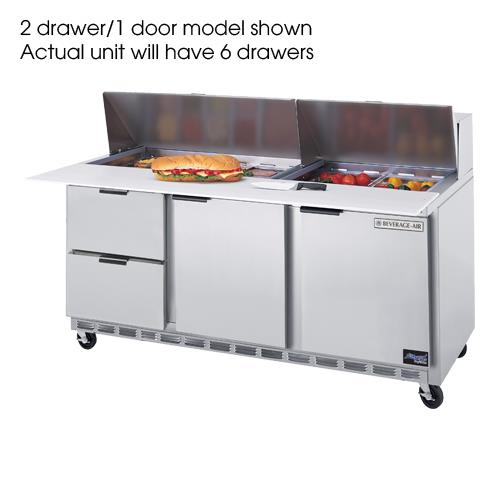 """72"""" 6 Drawer Sandwich Prep Table w/ 8 Pans at Discount Sku SPED72-08-6 BEVSPED72086"""