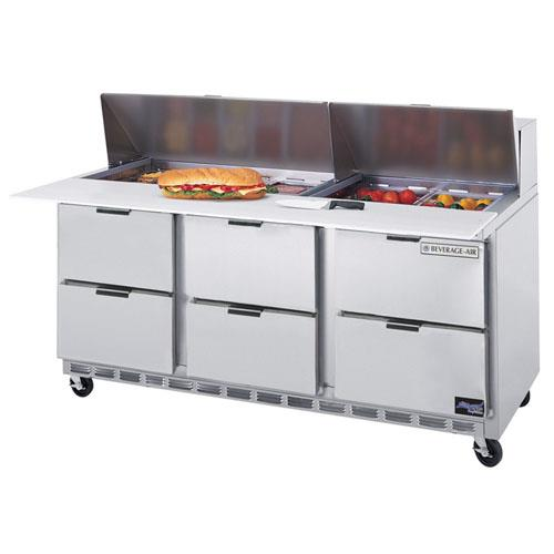 72 in 6 Drawer Cutting Top Prep Table with 10 Pans