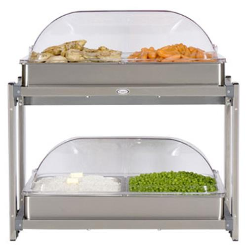 Cadco - CMLB-24RT - Multi Level Buffet Server With Clear Rolltop Lids