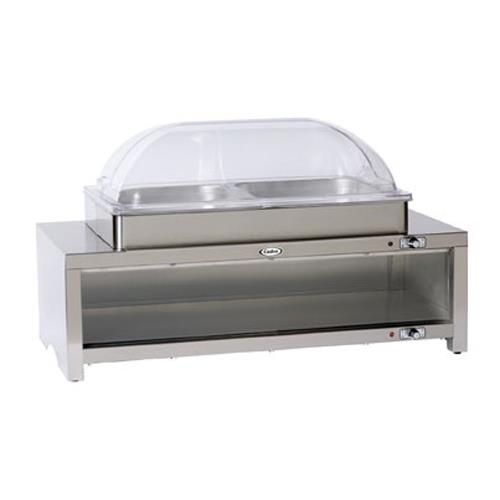 Cadco - CMLB-C2RT - Warming Cabinet with Buffet Server and Clear Rolltop Lid