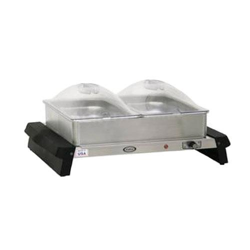 Cadco - WTBS-23P - Double Buffet Server with Clear Lids