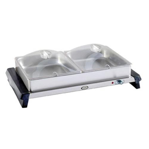 Cadco - WTBS-2P - Double Buffet Server with Clear Lids