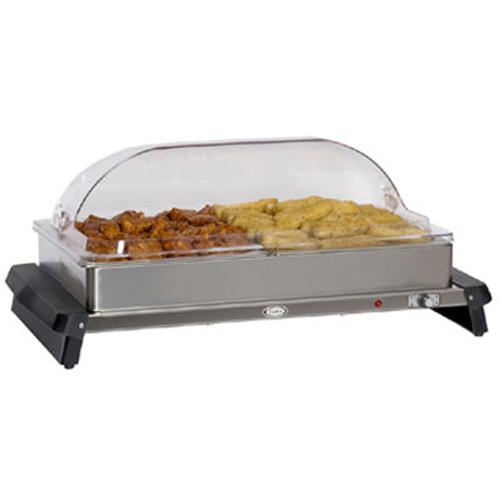 Cadco - WTBS-2RT - Double Buffet Server with Clear Rolltop Lids