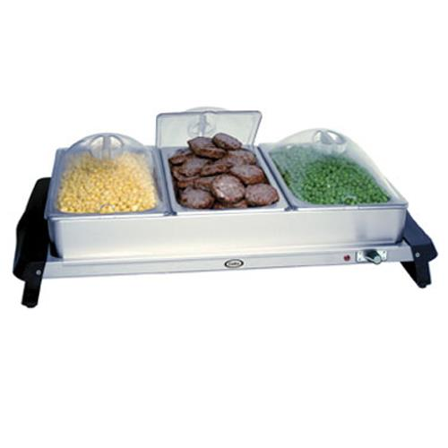 Cadco - WTBS-3P - Triple Buffet Server with Clear Lids