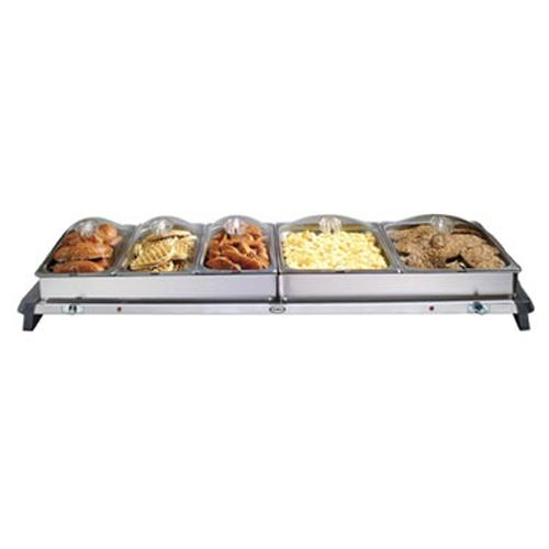 Cadco - WTBS-5P - Grand Buffet Server with Clear Lids