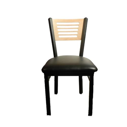 Oak street sl2150 5 n blk 5 line natural wood back for Natural wood dining chairs