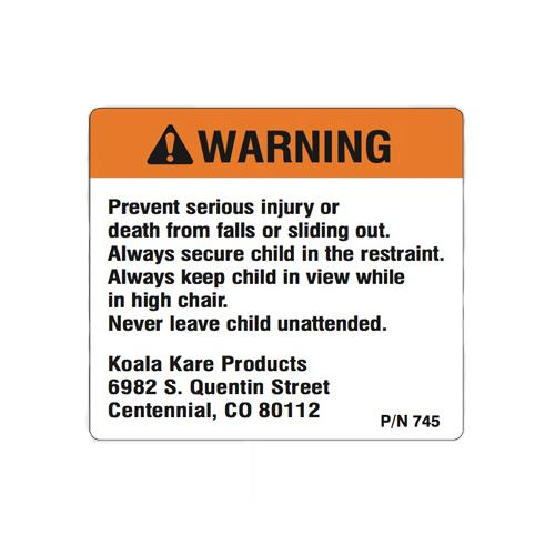 Classic High Chair Warning Label