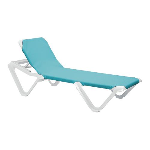 Grosfillex 99101241 nautical turquoise white chaise lounge - Chaise daling ...