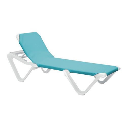 Grosfillex us101241 nautical turquoise white chaise lounge - Grosfillex chaise lounge chairs ...