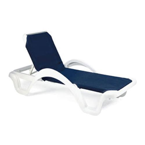 Grosfillex us202006 blue white catalina sling chaise lou etundra - Grosfillex chaise lounge chairs ...