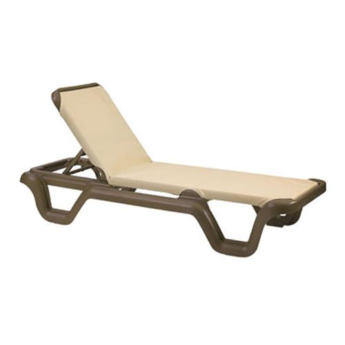 Grosfillex us414137 khaki bronze marina sling chaise for Bronze chaise lounge