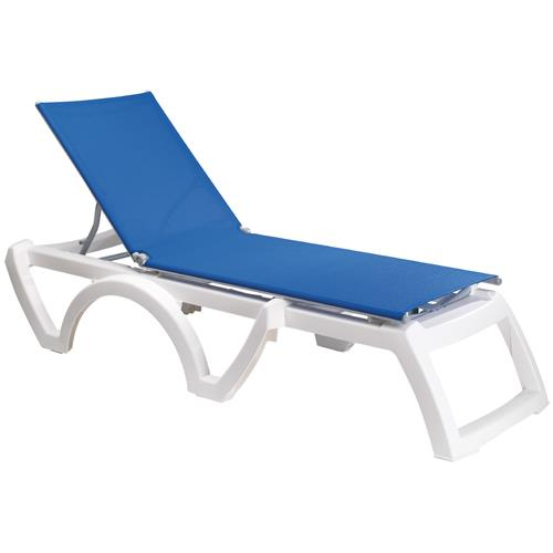 Grosfillex us746006 blue white calypso sling chaise for Blue sling chaise lounge