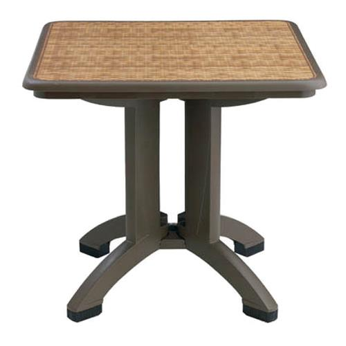 Grosfillex us743037 32 in square espresso havana table for Table exterieur grosfillex